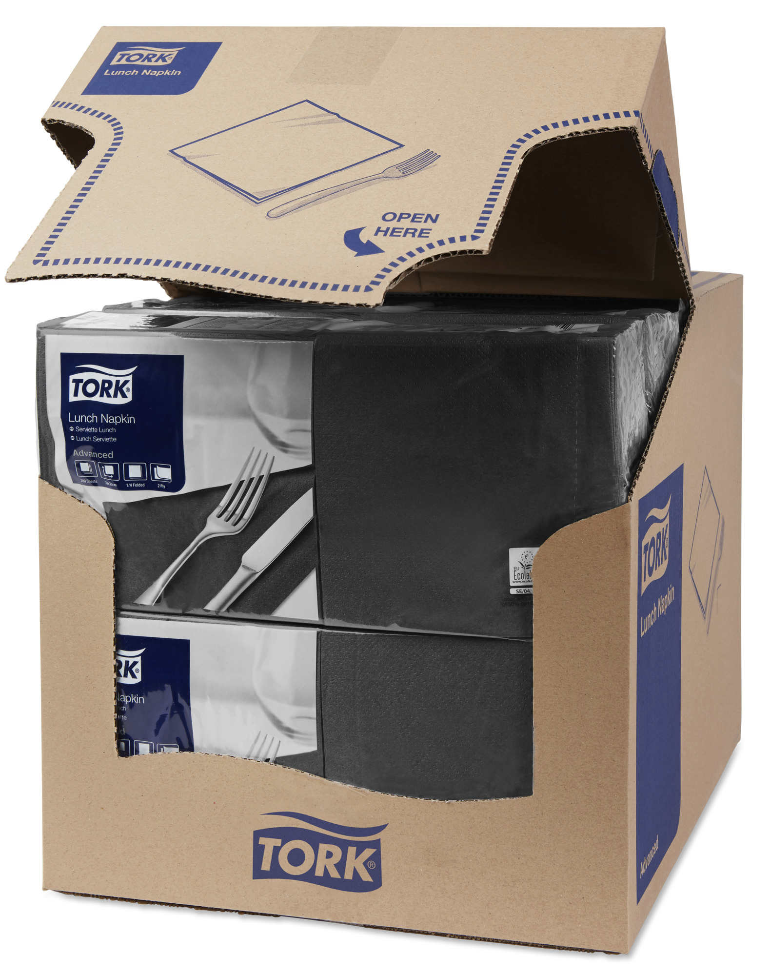 Салфетки TORK Advanced 33х33см, 2слоя, черные/477148